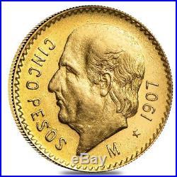 1907 Mexico 5 Pesos Gold Coin Avg Circ AGW. 1206 oz