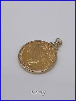 1909 $5 Coin with Solid 14k Gold Frame