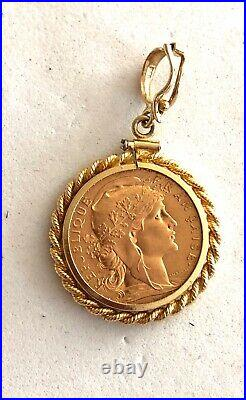 1909 Gold 20 Francs Coin In Solid 14k Yellow Gold Rope Bezel/pendant