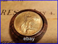 1909 Saint Gaudens 20 Dollar Gold Coin with custom Solid King Wood coin vault