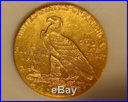 1911 $2 1/2 Indian Head Gold Coin Quarter Eagle NGC Retro Old Holder! Soap Bar
