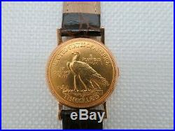 1911 Ten Dollar Solid Gold Coin Watch Le Lommet Swiss Quartz Non Working