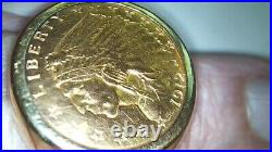 1912 five US Dollar 22K Indian Head Gold Coin mounted on solid 14k GOLD Harness