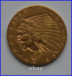 1915 Indian Head $2.5 Dollar Gold Coin