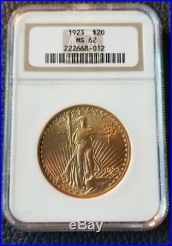 1923 $20 Saint Gaudens NGC MS62 Gold Double Eagle Coin. Incredible coin