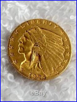 1925-D $2.50 Gold Indian Head Quarter Eagle US Coin Nice! #8718-5