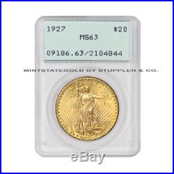 1927 $20 Saint Gaudens PCGS MS63 choice graded Gold Double Eagle coin Rattler