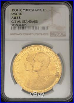 1931, Yugoslavia, King Alexander I. Gold 4 Ducats (4 Dukata) Coin. NGC AU-58
