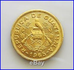 1965 GOLD GUATEMALA TECUN UMAN 1/2 OZ COMMEMORATIVE Medal/Coin