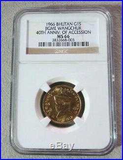 1966 Gold Bhutan Sertum Jigme Wangchuk Coin Ngc Mint State 66