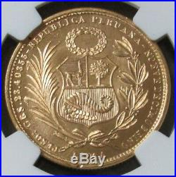1969 Gold Peru 443 Minted 50 Soles Seated Liberty Coin Ngc Mint State 67