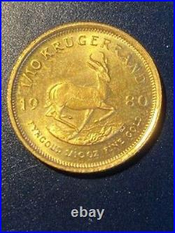1980 1/10 oz Solid Gold South African Krugerrand Coin