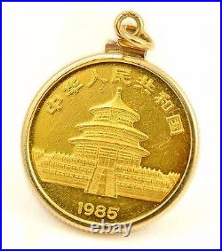 1985 China 25 Yuan 1/4 oz. 999 Fine Gold Panda Coin in 14k Pendant Bezel 9 GRAMS