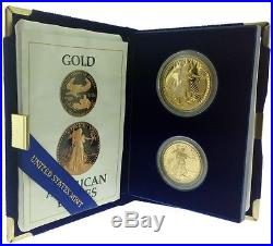 1987-P Proof Gold American Eagle 2 Coin Set With Box & COA