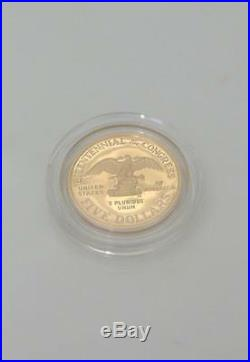 1989 Us Congressional 3 Three Coin Proof Set Silver Coa $5 Gold Liberety