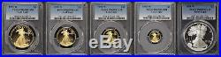 1995-W 5 Coin 10th Anniversary Gold and Silver Eagle Set PCGS PR-69DCAM -168563