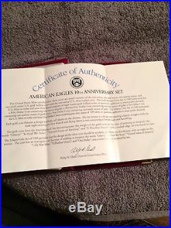 1995-w Proof American Eagle 10th Anniversary 5-coin Set Gold/ Silver + Box & Coa