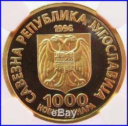1996 Gold Yugoslavia 1000 N Dinara Nikola Tesla Coin Ngc Proof 69 Ultra Cam