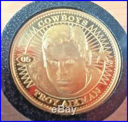 1998 Pinnacle Mint Troy Aikman 24K SOLID GOLD Coin 1/1 Only 1 Made! 20 Grams