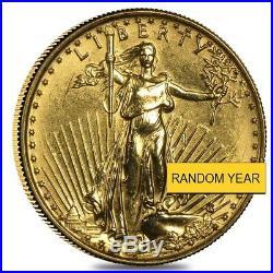 1/10 oz Gold American Eagle $5 Coin (Abrasions, Random Year)