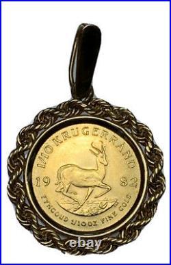 1/10 oz gold krugerrand in 14k gold rope bezel 22k solid gold coin 1982