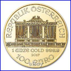 1 oz Austrian Philharmonic Gold Random Year 1 oz. 9999 fine Gold Coin $100 Euro