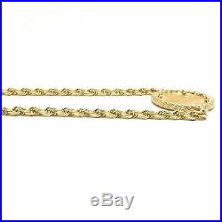 2002 1/10 oz Fine Gold American Eagle Liberty $5 Coin 14k Rope Chain Necklace