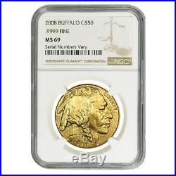 2008 1 oz Gold American Buffalo $50 Coin NGC MS 69