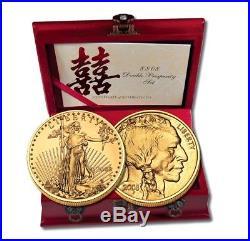 2008 W $25 Gold Eagle Buffalo 8-8-08 Prosperity Set 1/2 oz 2 Coin Set Burnished