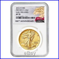 2016 1/2 oz Walking Liberty Half Dollar Centennial Gold Coin NGC SP70 Early