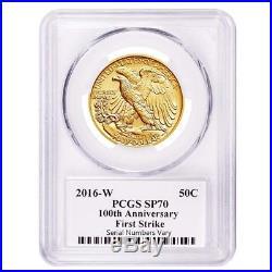 2016 1/2 oz Walking Liberty Half Dollar Centennial Gold Coin PCGS SP 70 First