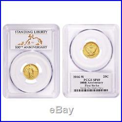 2016 1/4 oz Standing Liberty Quarter Centennial Gold Coin PCGS SP 69 First