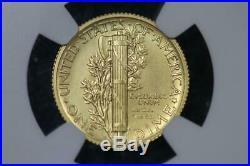 2016 W Gold Mercury Dime NGC SP70 ER 100th Anniversary US Min 10c Coin