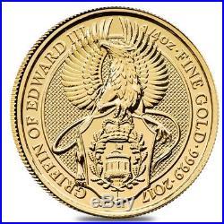 2017 Great Britain 1/4 oz Gold Queen's Beast (Griffin) Coin. 9999 Fine BU