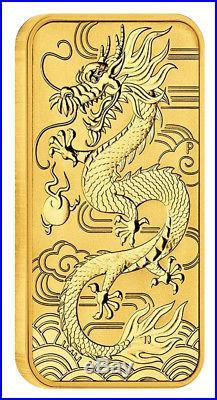 2018 $100 1oz Gold Australian Bullion Dragon Rectangular Coin (Bar). 9999