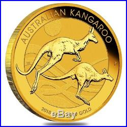 2018 1/4 oz Australian Gold Kangaroo Perth Mint Coin. 9999 Fine BU In Cap