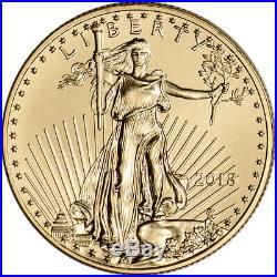 2018 American Gold Eagle (1/2 oz) $25 BU coin in U. S. Mint Gift Box