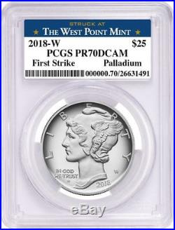 2018-W $25 American Eagle 1oz Palladium Proof Coin PCGS PR70DCAM FS Blue WP