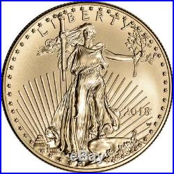 2018-W American Gold Eagle (1 oz) $50 Uncirculated Coin Burnished in OGP