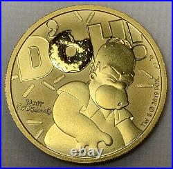 2020 Homer Simpson $100 1oz. 9999 FINE SOLID GOLD BULLION COIN LOW MINTAGE