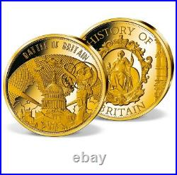 2020 Solid Gold Battle of Britain coin 0.5 grams 11 mm COA Capsule Proof