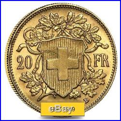 20 Francs Swiss Helvetia Vreneli Gold Coin AGW. 1867 AU/BU 1897-1949, Random