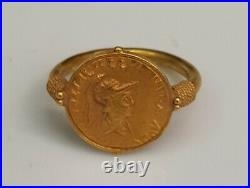 20k Gold Antique Roman First King Alexander The Great Coin Beautiful Ring #G1