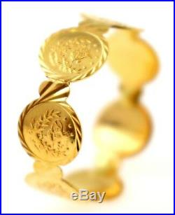 21Karat GORGEOUS SOLID GOLD GINNI COIN RING band R1575