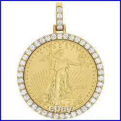 22K Gold American Eagle Liberty Coin 1 Oz. Real Diamond Mounting Pendant 2.85 CT