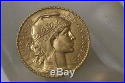 22K Solid Gold 1907 France Coin 20 Francs French Rooster AU Rare Collectible