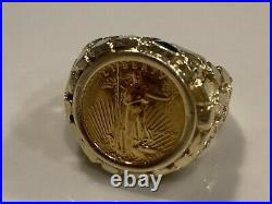 22K solid gold 1/10 OZ AMERICAN EAGLE COIN in 14K NUGGET COIN RING 22 MM