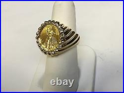 22 KT 1/10oz LADY LIBERTY COIN SET IN 14 KT SOLID YELLOW GOLD RING