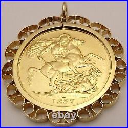 22 carat solid gold British Victorian 1887 £2 coin in 9ct hallmarked pendant