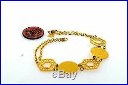 22k 22ct Solid Gold ELEGANT DESIGNER COIN CHARM Bracelet length 7 inch Cb252
